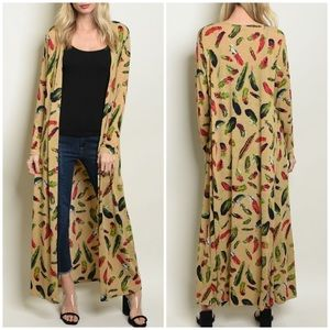 Sweaters - TAN WITH FEATHERS PRINT CARDIGAN